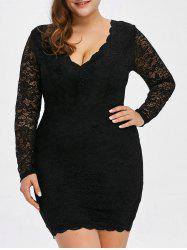 Low Cut Lace Short Bodycon Scalloped Dress with Long Sleeves