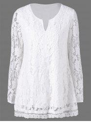 Split-Neck Floral Lace Blouse