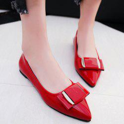 Metal Pointed Toe Flat Shoes - RED