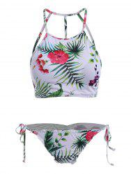 High Neck Strappy Cut Out Floral Bikini - COLORMIX XL