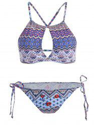 Cut Out Ethnic Printed String Bikini