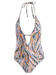 Leaf Printed Backless Halter Swimwear