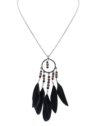 Bohemian Beads Feather Necklace