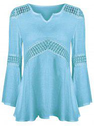 Lace Splicing V Neck Tunic Blouse - SKY BLUE