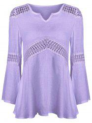 Lace Splicing V Neck Tunic Blouse