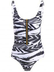 Zipper Printed Backless Swimwear
