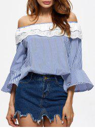 Off The Shoulder Striped Crochet Insert Blouse
