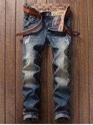 Slim Fit Destroyed Straight Jeans