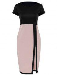 Two Tone Pencil Sheath Work Dress - PINK