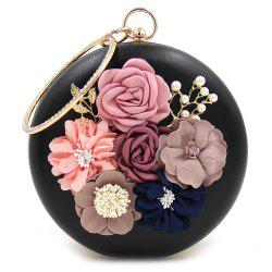Round Shaped Flowers Evening Bag - BLACK
