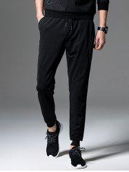 Drawstring Zip Jogger Pants - BLACK