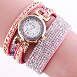 Chain Rhinestoned Strap Wrap Bracelet Watch