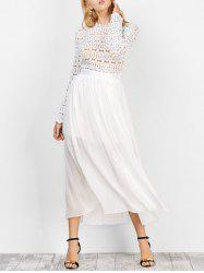 Chiffon Long Sleeve Sheer Lace Crochet Swing Bridesmaid Dress - WHITE L