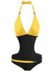 Plungling Neck Color Block Swimwear