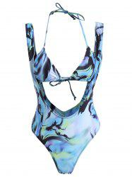 Tie Dye Low Back Cutout Halter Swimsuit