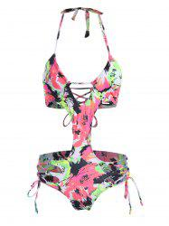 Printed Halter Lace Up Criss Cross Monokini Swimsuit