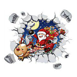 Christmas Santa Claus 3D Wall Stickers Living Room Decor