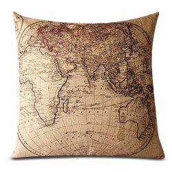 Classical Linen World Map Pattern Decorative Pillowcase(Without Pillow Inner) - KHAKI