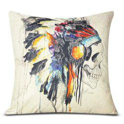 Colorful Square Skull Pattern Decorative Pillowcase(Without Pillow Inner) -