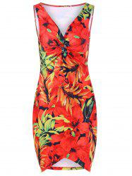 Plus Size Twist Front Floral Hawaiian Dress - RED XL