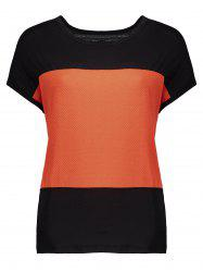 Batwing Sleeve Color Block Top