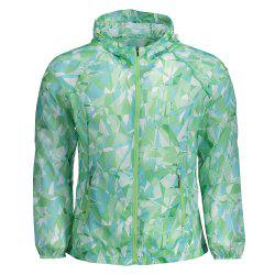Outdoor Hooded Printed Lightweight Skin Windbreaker - JADE GREEN