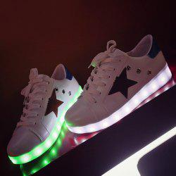 Color Block Led Luminous Athletic Shoes - WHITE
