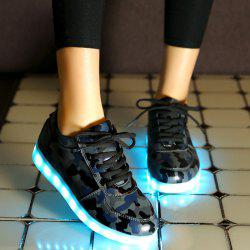Led Luminous Faux Leather Athletic Shoes