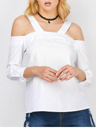 Cold Shoulder Zipper Design Blouse