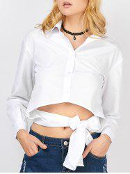 Knotted Asymmetrical Button Up Crop Shirt