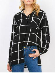 Graphic Side Slit Button Up Long Sleeve Plaid Shirt