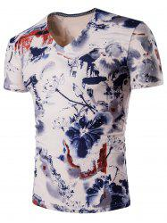 Chinese Painting V Neck Tee