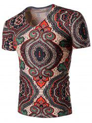 Tribal Print V Neck Tee