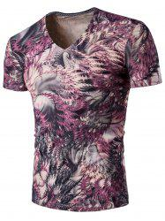 Printed Short Sleeve V Neck Tee