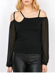 Open Shoulder Strappy Sheer Insert Mesh T-Shirt
