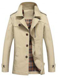 Button Up Notch Lapel Collar Jacket - APRICOT L