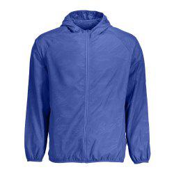 Outdoor Unisex Hooded Quick Dry Lightweight Skin Windbreaker - DEEP BLUE