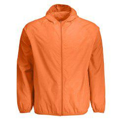 Outdoor Unisex Hooded Quick Dry Lightweight Skin Windbreaker - SWEET ORANGE