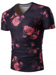 Chrysanthemum V Neck Short Sleeve Floral T-Shirt