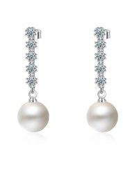 Faux Pearl Rhinestone Drop Earrings