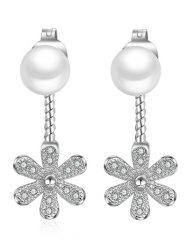Faux Diamond and Pearl Floral Earrings