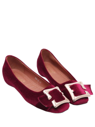 Buckle Strap Velvet Flat Shoes