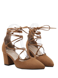 Tie Up Block Heel Pumps - BROWN