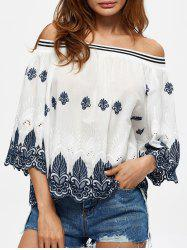 Off The Shoulder Embroidered Scalloped Blouse