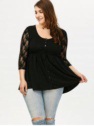 Button Up Lace Panel Top