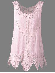 Bohemian Scoop Neck Crochet Sleeveless Solid Color Blouse For Women - PINK ONE SIZE