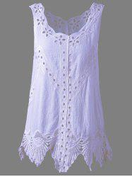 Bohemian Scoop Neck Crochet Sleeveless Solid Color Blouse For Women - LIGHT PURPLE ONE SIZE