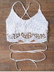 Spaghetti Straps Lace Crochet Crop Top - WHITE
