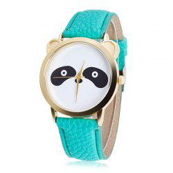 Artificial Leather Panda Quartz Watch - MINT