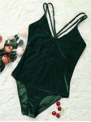 Double Cross Straps Velvet Backless Swimsuit